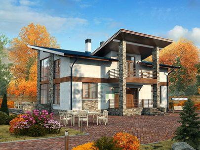 Проект дома с мансардой 16x13 метров, общей площадью 171 м2, из керамических блоков, со вторым светом, c террасой, котельной и кухней-столовой