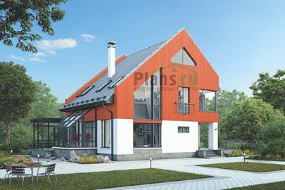 Проект дома с мансардой 16x13 метров, общей площадью 176 м2, из кирпича, со вторым светом, c зимним садом, террасой, котельной и кухней-столовой