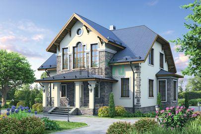 Проект дома с мансардой 16x13 метров, общей площадью 191 м2, из кирпича, c котельной и кухней-столовой