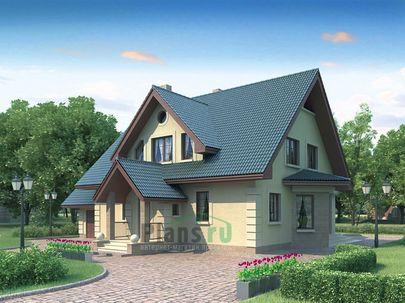 Проект дома с мансардой 16x13 метров, общей площадью 198 м2, из кирпича, c гаражом, террасой и котельной