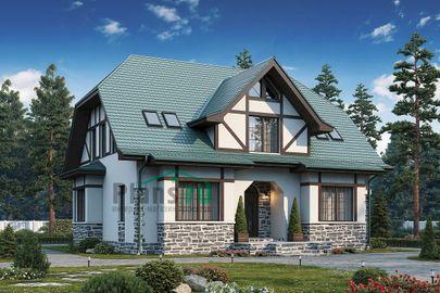 Проект дома с мансардой 16x13 метров, общей площадью 210 м2, из керамических блоков, c террасой, котельной и кухней-столовой