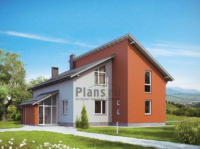 Проект дома с мансардой 16x13 метров, общей площадью 229 м2, из газобетона (пеноблоков), со вторым светом, c террасой, котельной и кухней-столовой