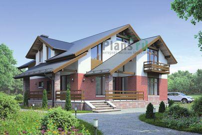 Проект дома с мансардой 16x13 метров, общей площадью 230 м2, из керамических блоков, c террасой, котельной и кухней-столовой