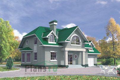 Проект дома с мансардой 16x13 метров, общей площадью 254 м2, из керамических блоков, c гаражом, террасой и котельной