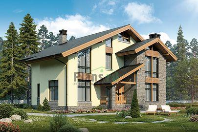 Проект дома с мансардой 16x14 метров, общей площадью 242 м2, из керамических блоков, c террасой и котельной