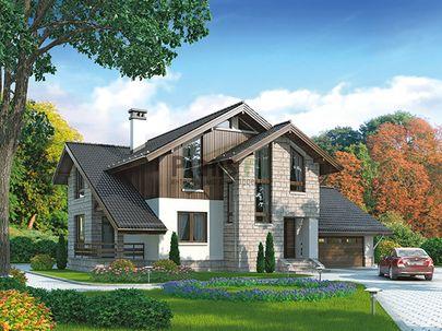 Проект дома с мансардой 16x14 метров, общей площадью 246 м2, из газобетона (пеноблоков), c гаражом, террасой, котельной и кухней-столовой
