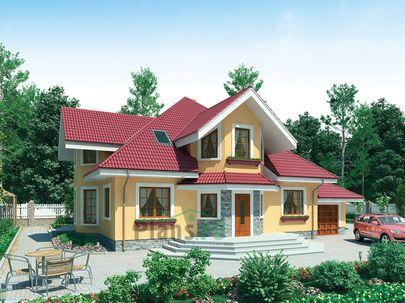 Проект дома с мансардой 16x14 метров, общей площадью 252 м2, из керамических блоков, c гаражом, террасой, котельной и кухней-столовой