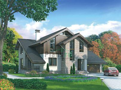 Проект дома с мансардой 16x14 метров, общей площадью 265 м2, из керамических блоков, c гаражом, террасой и котельной