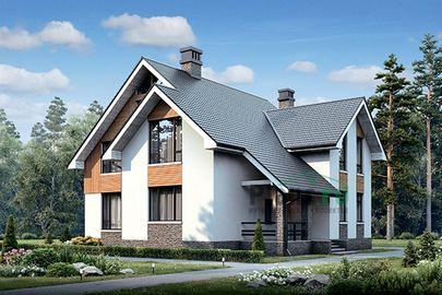 Проект дома с мансардой 16x15 метров, общей площадью 205 м2, из керамических блоков, c террасой, котельной и кухней-столовой