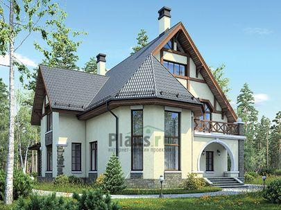 Проект дома с мансардой 16x15 метров, общей площадью 210 м2, из газобетона (пеноблоков), со вторым светом, c террасой, котельной и кухней-столовой