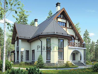 Проект дома с мансардой 16x15 метров, общей площадью 210 м2, из керамических блоков, со вторым светом, c террасой, котельной и кухней-столовой