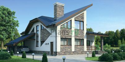 Проект дома с мансардой 16x15 метров, общей площадью 218 м2, из газобетона (пеноблоков), со вторым светом, c террасой, котельной и кухней-столовой