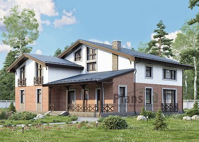 Проект дома с мансардой 16x15 метров, общей площадью 293 м2, из керамических блоков, c террасой и котельной