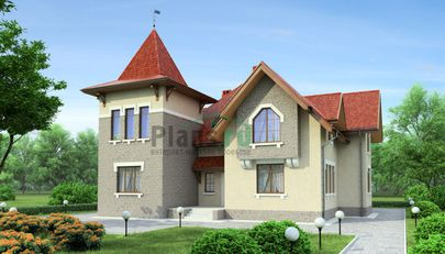 Проект дома с мансардой 16x16 метров, общей площадью 256 м2, из керамических блоков, c террасой и котельной
