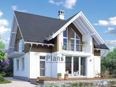 Проект дома с мансардой 16x17 метров, общей площадью 228 м2, из керамических блоков, c гаражом, террасой, котельной, лоджией и кухней-столовой