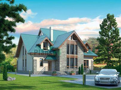 Проект дома с мансардой 16x17 метров, общей площадью 285 м2, из керамических блоков, со вторым светом, c котельной и кухней-столовой
