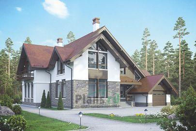 Проект дома с мансардой 16x18 метров, общей площадью 276 м2, из керамических блоков, c гаражом, террасой, котельной и кухней-столовой