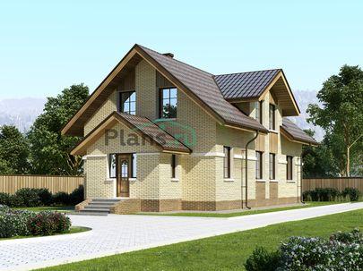 Проект дома с мансардой 16x7 метров, общей площадью 157 м2, из кирпича, c котельной и кухней-столовой