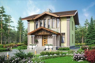 Проект дома с мансардой 16x9 метров, общей площадью 143 м2, из газобетона (пеноблоков), c террасой, котельной и кухней-столовой