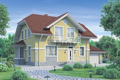 Проект дома с мансардой 16x9 метров, общей площадью 186 м2, из газобетона (пеноблоков), c гаражом, котельной и кухней-столовой