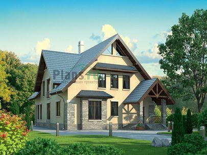 Проект дома с мансардой 17x11 метров, общей площадью 256 м2, из керамических блоков, c котельной и кухней-столовой