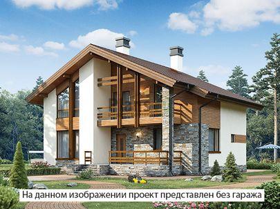 Проект дома с мансардой 17x12 метров, общей площадью 196 м2, из газобетона (пеноблоков), c гаражом, террасой, котельной и кухней-столовой