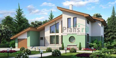 Проект дома с мансардой 17x12 метров, общей площадью 201 м2, из газобетона (пеноблоков), со вторым светом, c гаражом, террасой и котельной