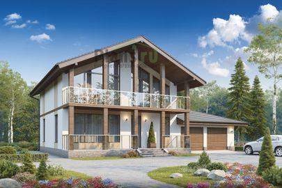 Проект дома с мансардой 17x12 метров, общей площадью 228 м2, из керамических блоков, c гаражом, террасой, котельной и кухней-столовой