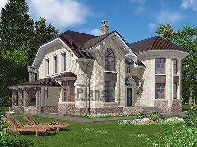 Проект дома с мансардой 17x14 метров, общей площадью 231 м2, из керамических блоков, c террасой, котельной и кухней-столовой
