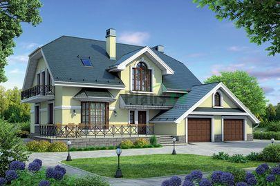 Проект дома с мансардой 17x14 метров, общей площадью 248 м2, из керамических блоков, c гаражом, террасой, котельной и кухней-столовой