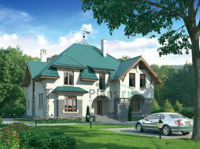 Проект дома с мансардой 17x14 метров, общей площадью 288 м2, из керамических блоков, c котельной и кухней-столовой