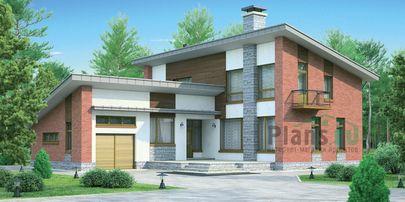 Проект дома с мансардой 17x16 метров, общей площадью 214 м2, из газобетона (пеноблоков), c гаражом, террасой и котельной