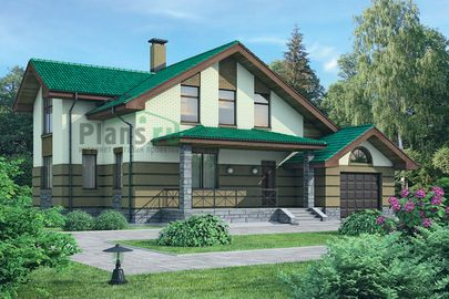 Проект дома с мансардой 17x16 метров, общей площадью 251 м2, из керамических блоков, c гаражом, террасой, котельной и кухней-столовой