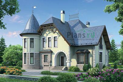 Проект дома с мансардой 17x16 метров, общей площадью 284 м2, из керамических блоков, c зимним садом, террасой, котельной и кухней-столовой
