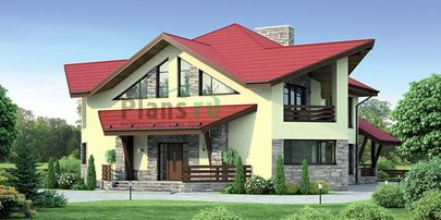 Проект дома с мансардой 17x18 метров, общей площадью 243 м2, из керамических блоков, c террасой, котельной и кухней-столовой
