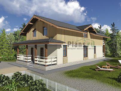 Проект дома с мансардой 17x8 метров, общей площадью 169 м2, из газобетона (пеноблоков), c террасой и котельной