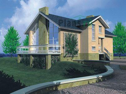 Проект дома с мансардой 18x10 метров, общей площадью 187 м2, из кирпича, со вторым светом, c террасой и котельной
