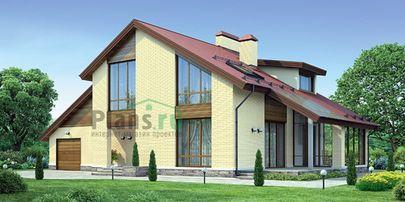 Проект дома с мансардой 18x10 метров, общей площадью 235 м2, из газобетона (пеноблоков), со вторым светом, c гаражом, террасой, котельной и кухней-столовой