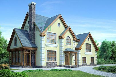 Проект дома с мансардой 18x11 метров, общей площадью 231 м2, из керамических блоков, c гаражом и котельной
