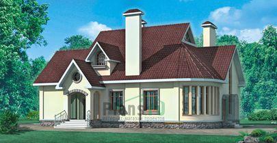 Проект дома с мансардой 18x11 метров, общей площадью 270 м2, из керамических блоков, со вторым светом, c зимним садом, котельной и кухней-столовой