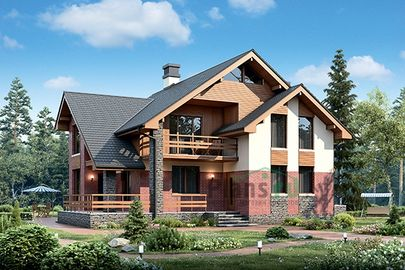 Проект дома с мансардой 18x12 метров, общей площадью 184 м2, из кирпича, c террасой, котельной и кухней-столовой