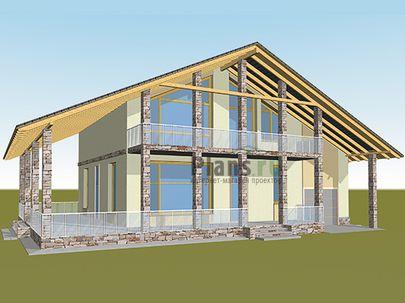 Проект дома с мансардой 18x12 метров, общей площадью 204 м2, из газобетона (пеноблоков), c гаражом, террасой, котельной и кухней-столовой
