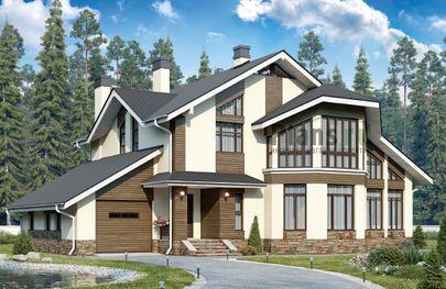 Проект дома с мансардой 18x12 метров, общей площадью 220 м2, из керамических блоков, c гаражом, котельной и кухней-столовой
