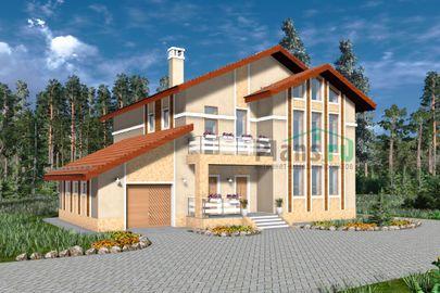 Проект дома с мансардой 18x13 метров, общей площадью 234 м2, из газобетона (пеноблоков), со вторым светом, c гаражом, котельной и кухней-столовой