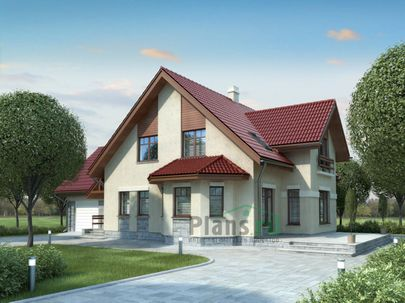 Проект дома с мансардой 18x13 метров, общей площадью 254 м2, из керамических блоков, c гаражом, террасой и котельной