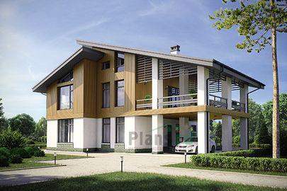 Проект дома с мансардой 18x14 метров, общей площадью 218 м2, из газобетона (пеноблоков), c гаражом, террасой и котельной