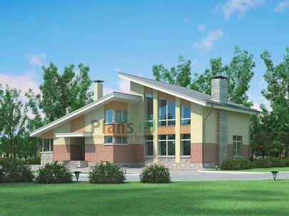 Проект дома с мансардой 18x14 метров, общей площадью 238 м2, из керамических блоков, со вторым светом, c котельной и кухней-столовой