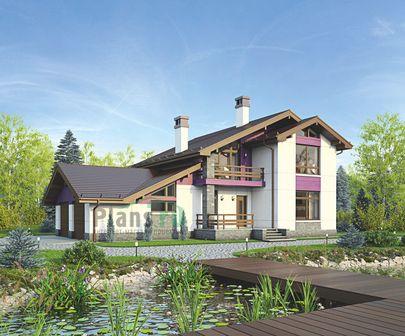 Проект дома с мансардой 18x15 метров, общей площадью 215 м2, из газобетона (пеноблоков), c гаражом, террасой и котельной