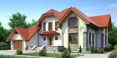 Проект дома с мансардой 18x15 метров, общей площадью 262 м2, из керамических блоков, c гаражом, террасой, котельной и кухней-столовой