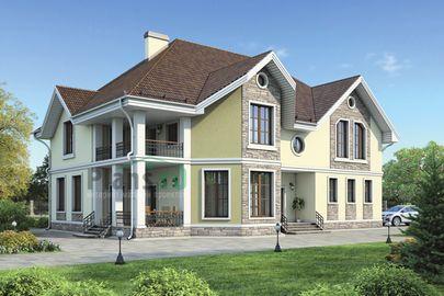 Проект дома с мансардой 18x15 метров, общей площадью 330 м2, из керамических блоков, c гаражом, террасой, котельной и кухней-столовой